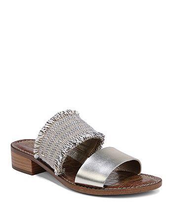 0c20ce770 Sam Edelman Women s Jeni Metallic Leather   Fringe Slide Sandals ...