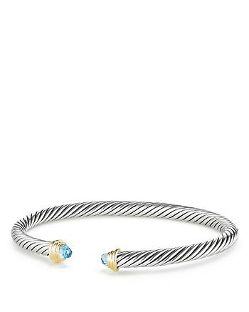 David Yurman - Cable Kids Birthstone Bracelet with Blue Topaz & 14K Gold