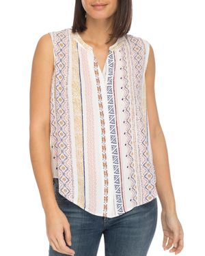B COLLECTION BY BOBEAU Fiona Button-Back Printed Gauze Blouse in Multi
