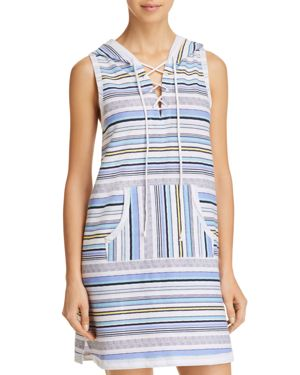 JANE & BLEECKER NEW YORK HOODED STRIPE LONG TANK