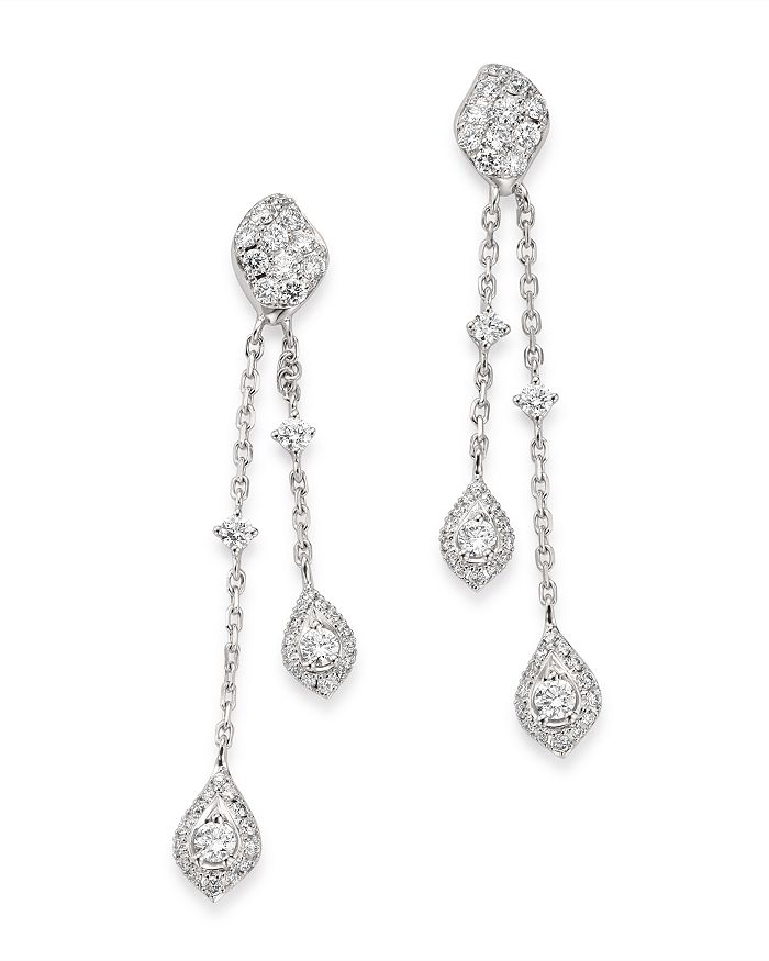 Bloomingdale's - Diamond Double Drop Earrings in 14K White Gold, 0.70 ct. t.w. - 100% Exclusive