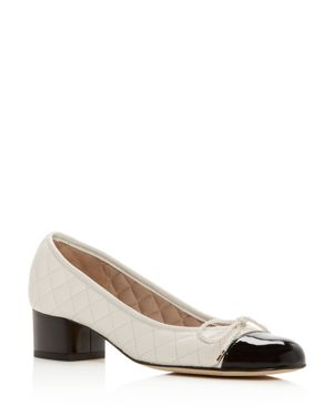 PAUL MAYER Women'S Titou Quilted Leather Cap Toe Block Heel Pumps in Black/Marfil