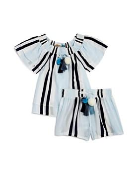 Vintage Havana - Girls' Striped Off-the-Shoulder Top & Drawstring Shorts - Big Kid