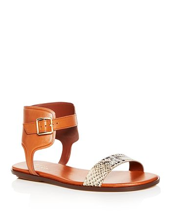 570b78e55 Cole Haan Women s Barra Snake Embossed Leather Ankle Strap Sandals ...