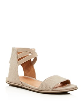 Gentle Souls by Kenneth Cole - Women's Lark-May Perforated Suede Ankle Strap Demi Wedge Sandals