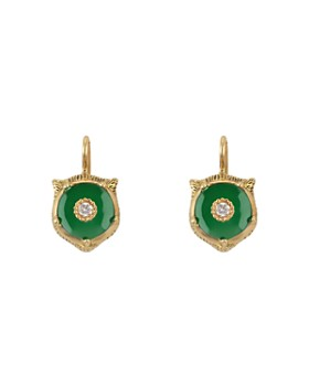 da6a77e3190 Gucci - 18K Yellow Gold Le Marché Des Merveilles Jade   Diamond Feline Drop  Earrings
