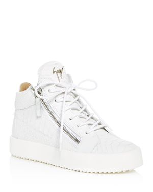 WOMEN'S MAY LONDON SNAKE & CROC EMBOSSED LEATHER HIGH TOP SNEAKERS