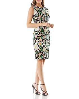 Carmen Marc Valvo - Floral Embroidered Dress