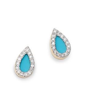 Adina Reyter - 14K Yellow Gold Turquoise & Diamond Teardrop Stud Earrings