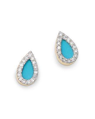 14 K Yellow Gold Turquoise Or Opal & Diamond Teardrop Stud Earrings by Adina Reyter