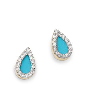 ADINA REYTER 14K YELLOW GOLD TURQUOISE & DIAMOND TEARDROP STUD EARRINGS
