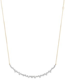 """Adina Reyter - Sterling Silver & 14K Yellow Gold Scattered Diamond Large Curve Collar Necklace, 13.5"""""""