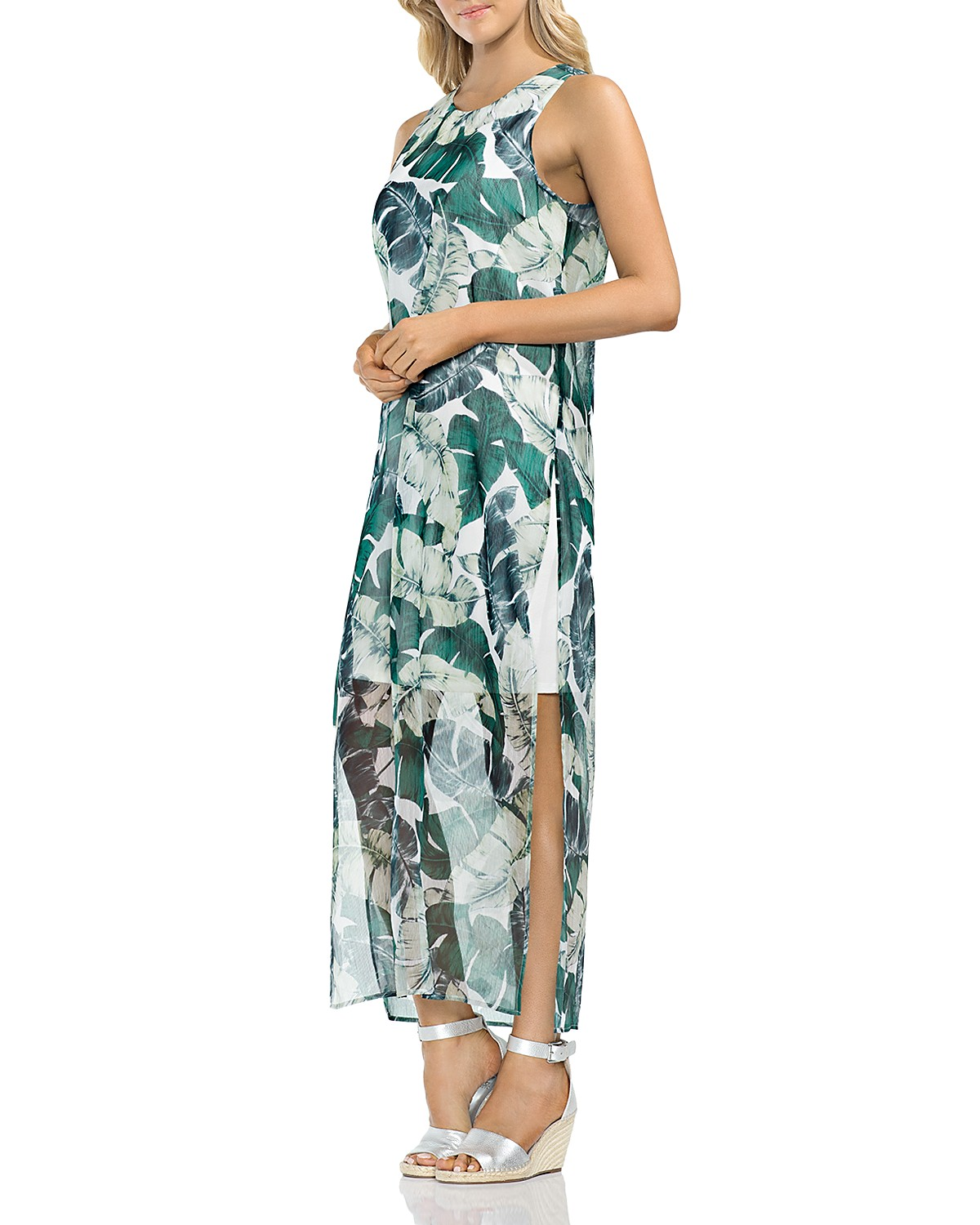 VINCE CAMUTO Jungle Palm Overlay Maxi Dress | Bloomingdale\'s