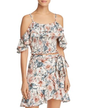 RUFFLED COLD-SHOULDER CROPPED TOP