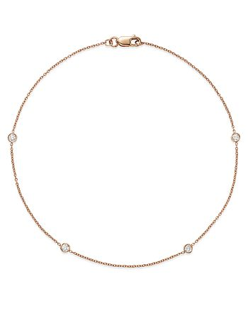 Bloomingdale's - Diamond Bezel Ankle Bracelet in 14K Rose Gold, 0.20 ct. t.w. - 100% Exclusive