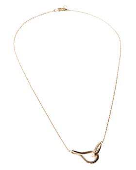 "Shinola - 14K Yellow Gold Diamond Lug Link Necklace, 16"""
