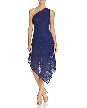 Adrianna Papell Stripe Lace Asymmetric Dress