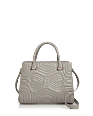 Quilted Bow Leather Tote Bag - Gray, Charcoal