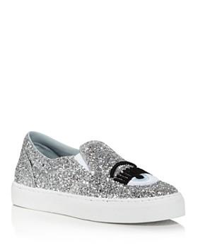 Chiara Ferragni - Women's Glitter Leather Slip On Sneakers