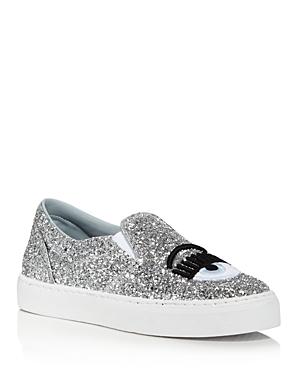 Chiara Ferragni Women's Glitter Leather Slip On Sneakers