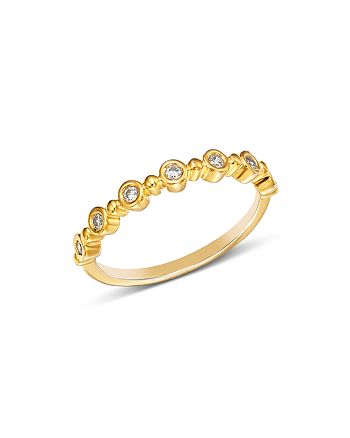 Bloomingdale's - Diamond Bezel Beaded Stacking Ring in 14K Yellow Gold, 0.10 ct. t.w. - 100% Exclusive