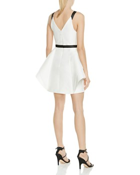 HALSTON HERITAGE - Structured Ruffled Fit-and-Flare Dress