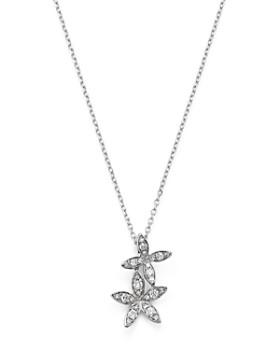 "KC Designs - 14K White Gold Double Flower Diamond Necklace, 16"""