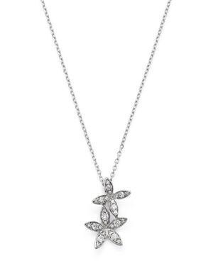 KC DESIGNS 14K WHITE GOLD DOUBLE FLOWER DIAMOND NECKLACE, 16