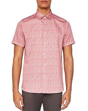 f7c6f6ea Ted Baker Palmgo Palm Leaf Line Print Regular Fit Button-Down Shirt ...
