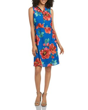 FOXCROFT FLORAL-PRINT DRAWSTRING SHIRT DRESS