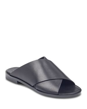 MARC FISHER IDINIA LEATHER SLIDE SANDALS