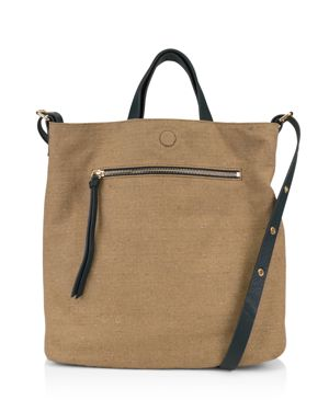 KOOBA Bolivia Reversible Leather & Linen Tote in Bamboo Brown/Gold