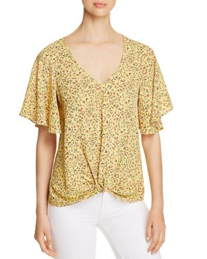 STATUS BY CHENAULT FLORAL TWIST-FRONT TOP