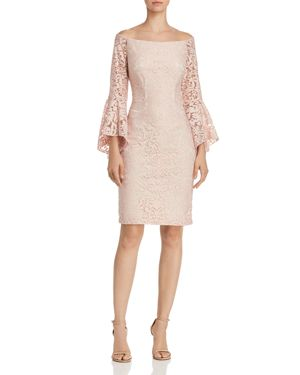AVERY G OFF-THE-SHOULDER LACE DRESS