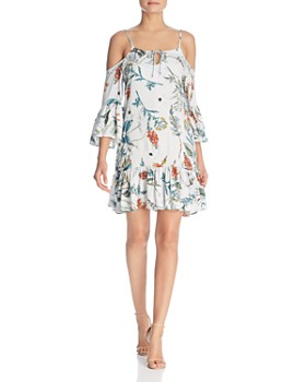 Elan - Botanical-Print Cold-Shoulder Dress