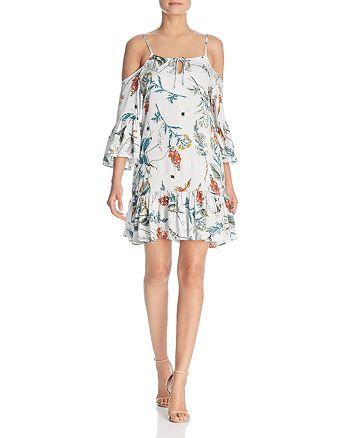 Elan - Botanical-Print Cold-Shoulder Dress