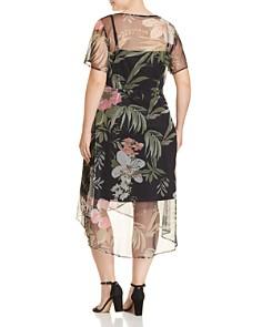 Estelle Plus - Amaryllis Floral Mesh Wrap Dress