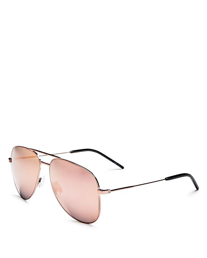 71fd6681ed Saint Laurent - Men s Mirrored Brow Bar Aviator Sunglasses