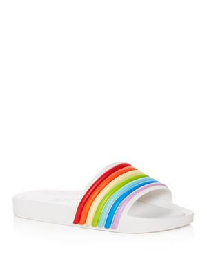 MELISSA Women'S 3-D Rainbow Pool Slide Sandals in Shiny White