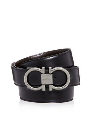 Men'S Double-Gancini Reversible Leather Belt in Black