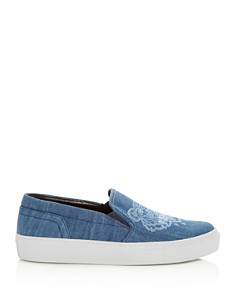 Kenzo - Women's Special Tiger Embroidered Denim Slip-On Sneakers