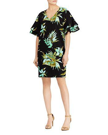 2649067c Ralph Lauren Ponte Tropical-Print Flutter-Sleeve Shift Dress ...