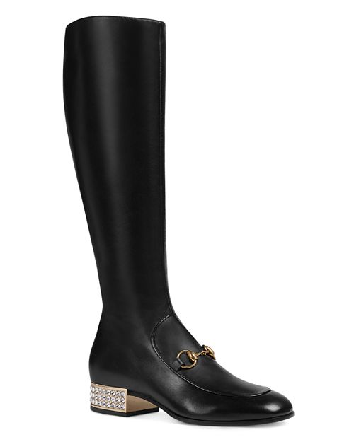 Gucci - Women's Mister Leather & Crystal Heel Tall Boots