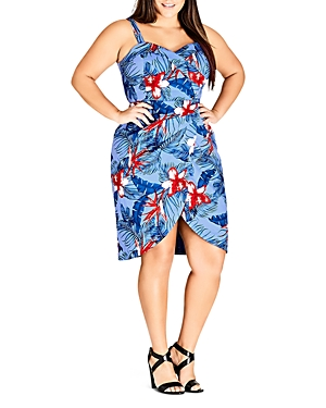 City Chic Plus Hawaiian Love Floral Dress