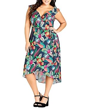 City Chic Plus Jungle Jam Floral Wrap Dress