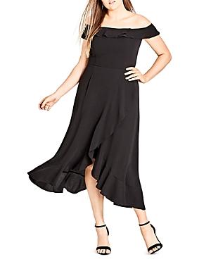City Chic Plus Ruffle Off-the-Shoulder Dress