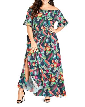 City Chic Plus Jungle-Floral Off-the-Shoulder Maxi Dress
