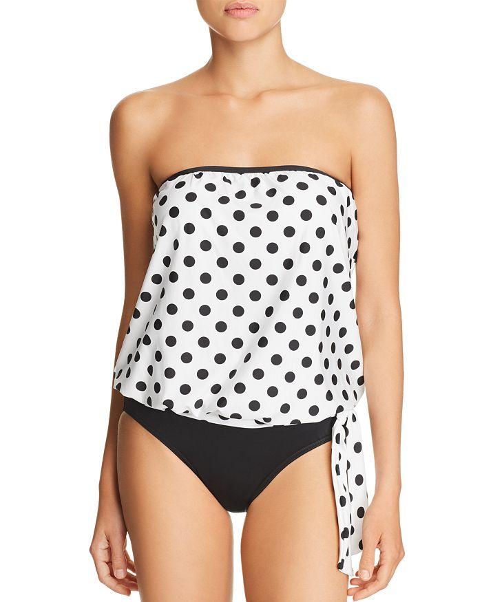 ATHENA - Riviera Dot Blouson Tankini Top & Fold-Over High-Waist Bikini Bottom