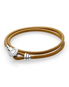 PANDORA Sterling Silver & Leather Tan Wrap Bracelet - Bloomingdale's_0