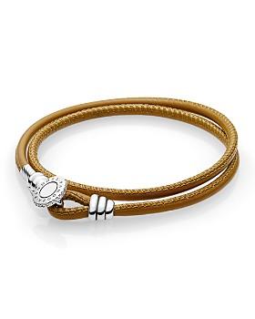 PANDORA - Sterling Silver & Leather Tan Wrap Bracelet